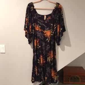 Navy floral dress with batwing sleeves